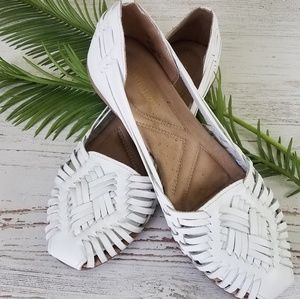 Naturalized White Leather Woven Sandals